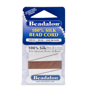 Beadalon Silk Thread, Size 02 (.45 mm, .018 in) - Beige, with needle, 2 m (6.5 ft)
