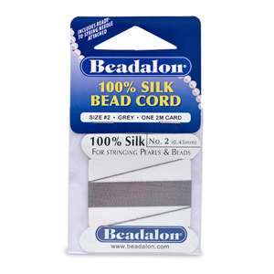 Beadalon Silk Thread, Size 02 (.45 mm, .018 in) - Grey, with needle, 2 m (6.5 ft)