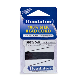 Beadalon Silk Thread, Size 02 (.45 mm, .018 in) - Black, with needle, 2 m (6.5 ft)