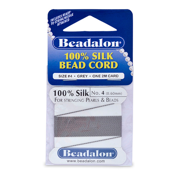 Beadalon Silk Thread, Size 04 (0.60 mm, .024 in) - Grey, with needle, 2 m (6.5 ft)