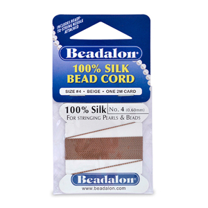 Beadalon Silk Thread, Size 04 (0.60 mm, .024 in) - Beige, with needle, 2 m (6.5 ft)