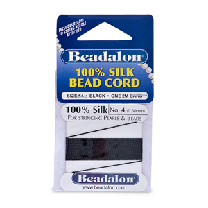 Beadalon Silk Thread, Size 04 (0.60 mm, .024 in) - Black, with needle, 2 m (6.5 ft)