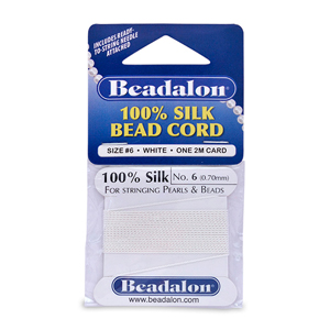 Beadalon Silk Thread, Size 06 (0.70 mm, .028 in) - White, with needle, 2 m (6.5 ft)