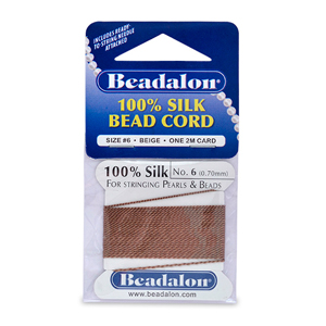 Beadalon Silk Thread, Size 06 (0.70 mm, .028 in) - Beige, with needle, 2 m (6.5 ft)