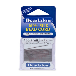 Beadalon Silk Thread, Size 06 (0.70 mm, .028 in) - Grey, with needle, 2 m (6.5 ft)