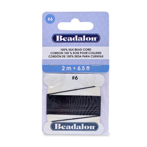 Beadalon Silk Thread, Size 06 (0.70 mm, .028 in) - Black, with needle, 2 m (6.5 ft)