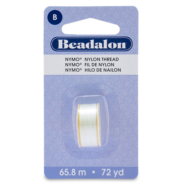 Nymo Thread, Size B, 0.20 mm (.008 in), White, 1 pc