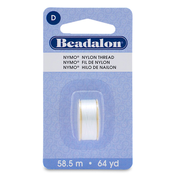 Nymo Thread, Size D, 0.30 mm (.012 in), White,  59 m (64 yd), 1 pc
