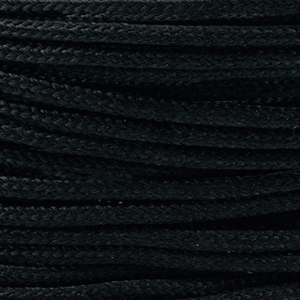 Polyester Braided Cord, Black, 1 mm (0.39 in), 4.8 m (5.25 yds)