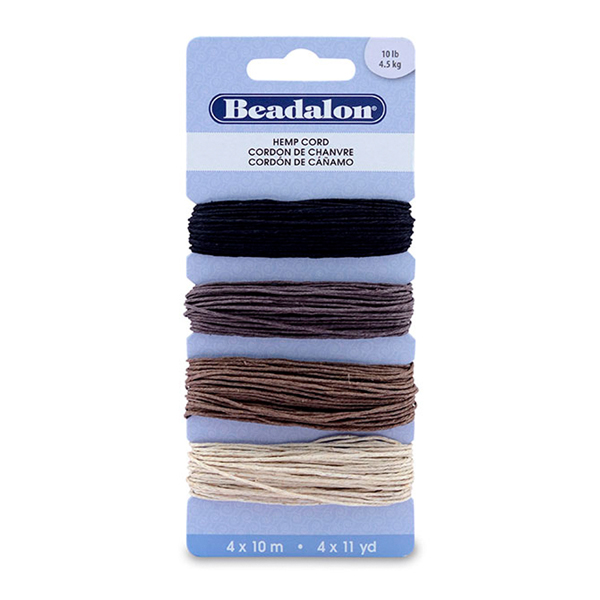 Cord Variety Pack, Hemp, 10#, Black, Dark Brown, Light Brown, Natural, 10 m (11 yd) ea