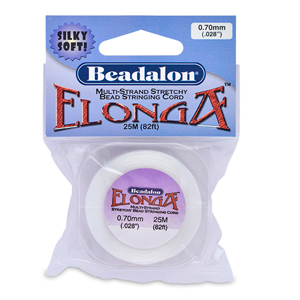 Elonga Stretch Cord, 0.7 mm (.028 in), White, 25 m (82 ft)