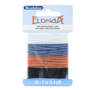 Elonga Stretch Cord, 0.7 mm (.028 in), Black, Brown, Grey, Clear, 5 m (5.4 yd) each color