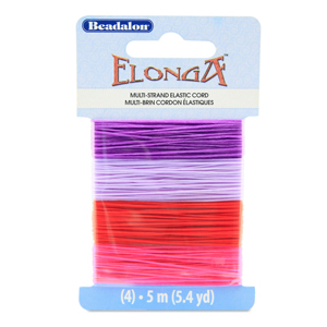 Elonga Stretch Cord, 0.7 mm (.028 in), Lilac, Purple, Red, Pink, 5 m (5.4 yd) each color