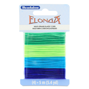 Elonga Stretch Cord, 0.7 mm (.028 in), Green, Lime, Medium Blue, Blue, 5 m (5.4 yd) each color