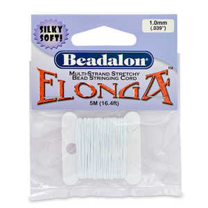 Elonga Stretch Cord, 1.0 mm (.039 in), White, 5 m (16.4 ft)