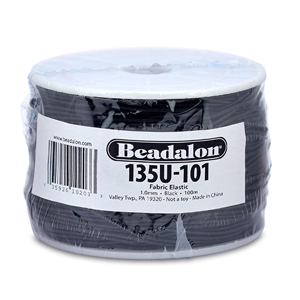 Fabric Elastic, 1.0 mm (.039 in), Black, 91.4 m (300 ft)