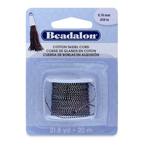 Cotton Tassel Cord, approximately 0.76 mm (.030 in), Metallic Silver on Black, 21.8 yd (20 m)