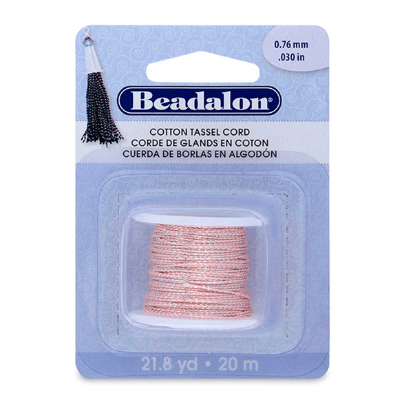 Cotton Tassel Cord, approximately 0.76 mm (.030 in), Metallic Silver on Pink,  21.8 yd (20 m)