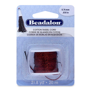 Cotton Tassel Cord, approximately 0.76 mm (.030 in), Metallic Red on Black,  21.8 yd (20 m)