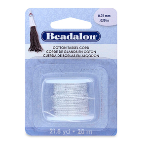 Cotton Tassel Cord, approximately 0.76 mm (.030 in), Metallic Silver on White, 21.8 yd (20 m)
