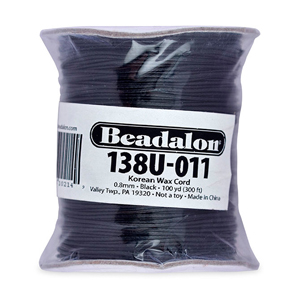 Waxed Cord, 0.8 mm (.031 in), Black, 100 yd (91.4 m)
