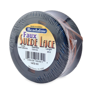 Faux Suede Lace, 3.2 mm (0.13 in), Dark Brown, 25 m (82 ft)
