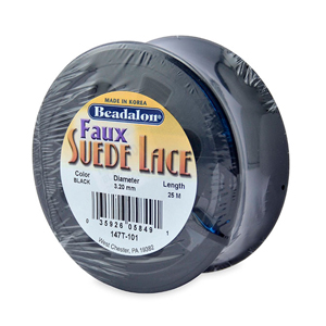 Faux Suede Lace, 3.2 mm (0.13 in), Black, 25 m (82 ft)
