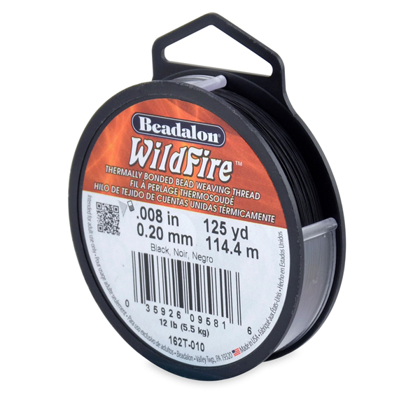 Wildfire, .008 in (0.20 mm), Break Strength 12 lb (5.5 kg), Black, 125 yd (114 m)