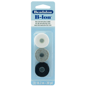 B-LON Cord, TEX 210, 0.5 mm (.02 in), Black, White, Grey, 18.28 m (20 yd) each, 3 pc