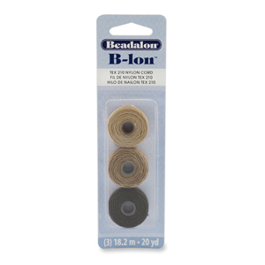 B-LON Cord, TEX 210, 0.5 mm (.02 in), Dark Brown, Medium Brown, Light Brown, 18.28 m (20 yd) each, 3 pc