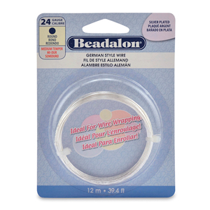 German Style Wire, Round, Silver Plated, 24 gauge (.020 in, .51 mm), 12 m (39.4 ft)