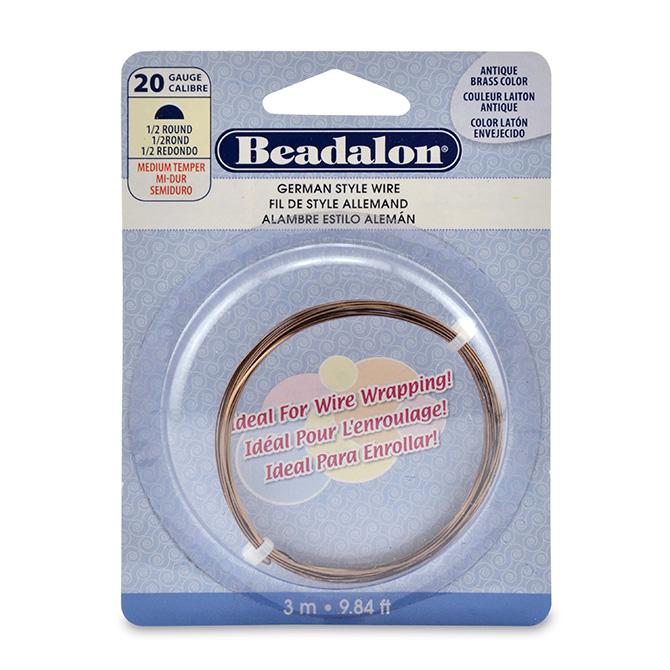 german style wire half round antique brass color 20 gauge 032