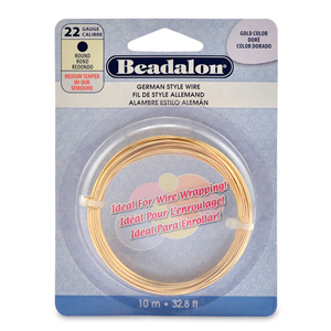 German Style Wire, Round, Gold Color, 22 gauge (.025 in, .64 mm), 10 m (32.8 ft)