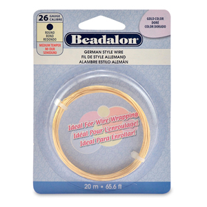 German Style Wire, Round, Gold Color, 26 gauge (.016 in, .41 mm), 20 m (65.6 ft)