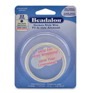 German Style Wire, Round, Fancy, Silver Plated, 22 gauge (.025 in, .64 mm), 5 m (16.4 ft)