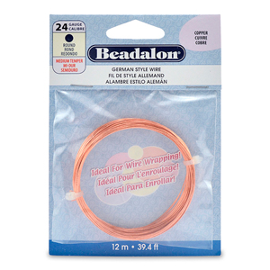 German Style Wire, Round, Copper, 24 gauge (.020 in, .51 mm), 12 m (39.4 ft)