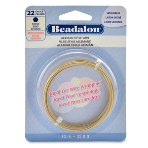 German Style Wire, Round, Satin Brass Color, 22 gauge (.025 in, .64 mm), 10 m (32.8 ft)