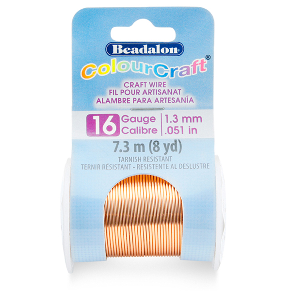 ColourCraft Wire, 16 Gauge (0.050 in, 1.3 mm), Copper Color, 7.3 m, (8 yd)