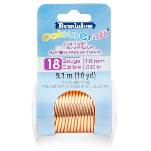 ColourCraft Wire, 18 Gauge (0.040 in, 1.02 mm), Copper Color, 9.1 m (10 yd)