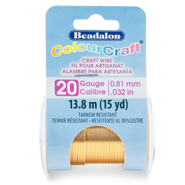 ColourCraft Wire, 20 Gauge (0.032 in, 0.81 mm), Tarnish Resistant Brass Light, 13.8 m (15 yd) Spool