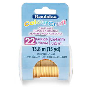 ColourCraft Wire, 22 Gauge (0.025 in, 0.64 mm), Tarnish Resistant Brass Light, 18.3 m (20 yd) Spool