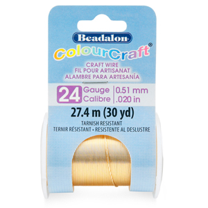 ColourCraft Wire, 24 Gauge (0.020 in, 0.51 mm), Tarnish Resistant Brass Light, 27.4 m (30 yd) Spool