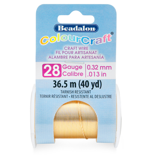 ColourCraft Wire, 28 Gauge (0.013 in, .32 mm), Tarnish Resistant Brass Light, 36.5 m (40 yd)