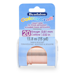 ColourCraft Wire, 20 Gauge (0.81 mm, 0.032 in), Tarnish Resistant Rose Gold Plated, 13.8 m (15 yd)