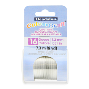 ColourCraft Wire, 16 Gauge (0.050 in, 1.30 mm), Silver Color, 7.3 m (8 yd) Spool