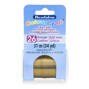 ColourCraft Wire, 26 Gauge (0.016 in, 0.41 mm), Vintage Bronze Color, 31 m (34 yd) Spool