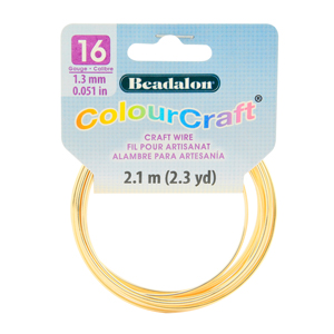 ColourCraft Wire, 16 Gauge (0.051 in, 1.29 mm), Gold Color, 2.1 m (2.3 yd) Coil