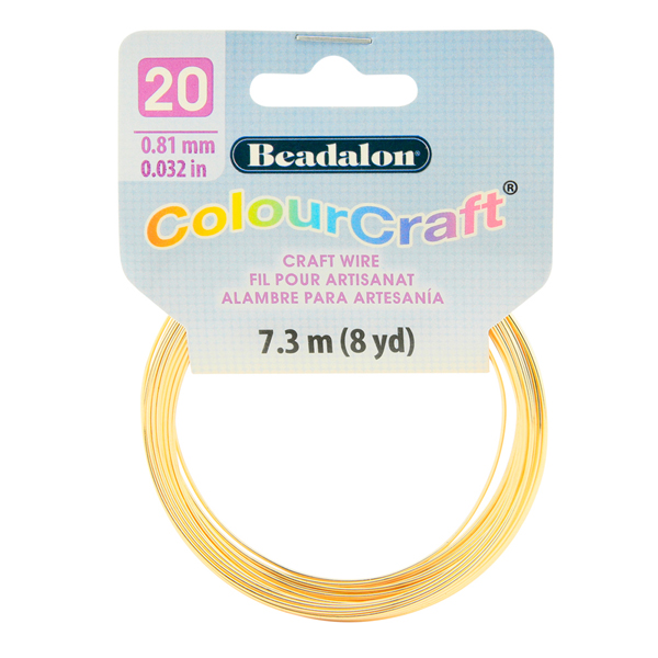 ColourCraft Wire, 20 Gauge (0.032 in, 0.81 mm), Gold Color, 7.3 m (8 yd) Coil