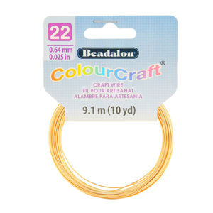 ColourCraft Wire, 22 Gauge (0.025 in, 0.64 mm), Gold Color, 9.1 m (10 yd) Coil