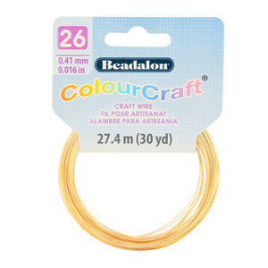 ColourCraft Wire, 26 Gauge (0.017 in, 0.40 mm), Gold Color, 27.4 m (30 yd) Coil